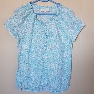 LOFT Ann Taylor Blue White Cotton Shirt Size M